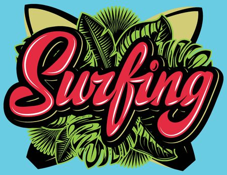 Calligraphic inscription Surfing on the background of palm leaves and surfboards. 向量圖像