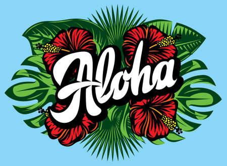 Vector illustration with Aloha lettering, palm leaves and hibiscus.