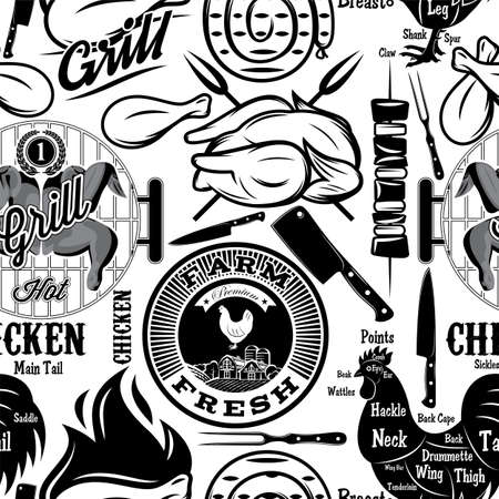 Vector seamless background. Chicken meat. Butcher shop. Monochrome illustration.