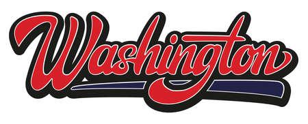 Calligraphic inscription Washington. Lettering. Colored vector illustration. Иллюстрация