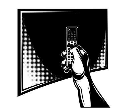 Vector template with tv and remote control on hand. Monochrome vector illustration. Vecteurs