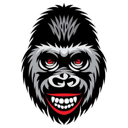 Vector color illustration with a smiling gorilla head. 矢量图像
