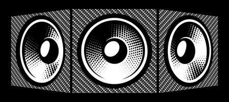 Three speakers. Carbon fiber background. Vector illustration. Elements for design.