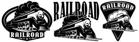 Retro locomotive. A set of templates for design. Monochrome vector illustration. Ilustração