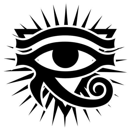 The Eye of Horus with rays of Sun. Ancient symbol pattern. Vector monochrome illustration. White background.