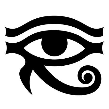 The Eye of Horus. Ancient symbol pattern. Vector monochrome illustration. White background. 向量圖像