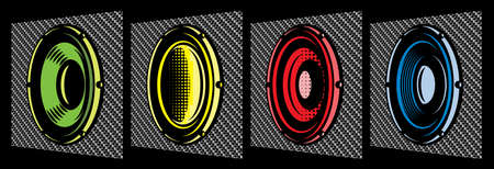 Set of different oval speakers. Vector color illustration. Elements for design. Carbon fiber background.