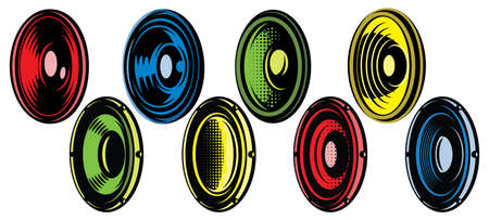 Set of eight oval speakers. Vector color illustration. Elements for design. White background. 向量圖像