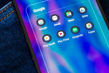 Google apps on the smartphone screen