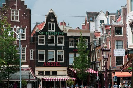 AmsterdamNiederlande July 18, 2019: Cafe Hoppe traditional brewery and coffee of Amsterdam