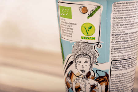 Vegan package of natural yogurt for healthy lifestyle Editoriali