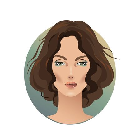 Beautiful elegant woman with brown curly hair, face closeup illustration