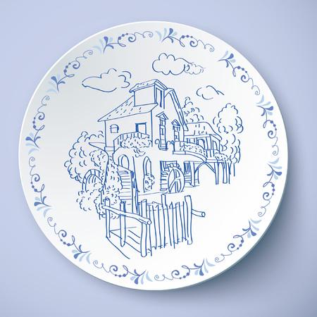 The European pastoral village Иллюстрация