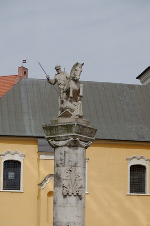 Horseman slaying a dragon. Poznan. poland