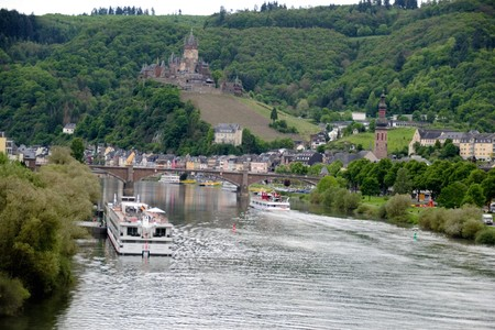 Romantic river cruises over the Rhine - medieval Cochem town. Germanium