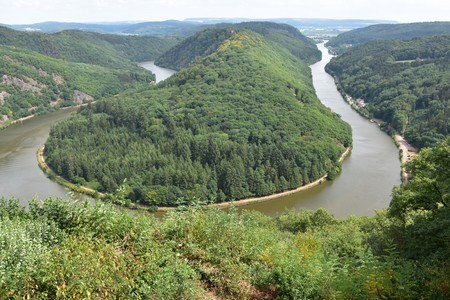 Saarschleife, the Saar river turning around a hill in Saarland, Germany.