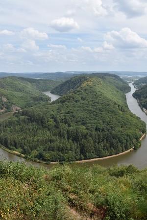 Saarschleife, the Saar river turning around a hill in Saarland, Germany.