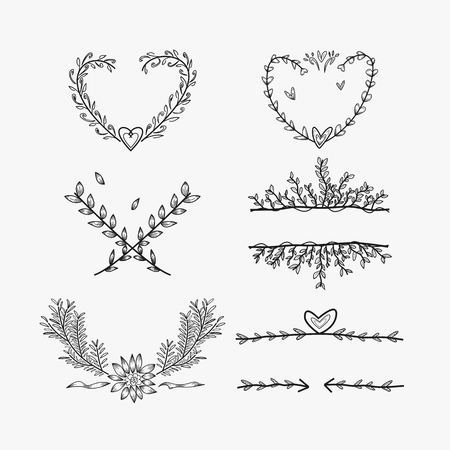 hand sketched wedding ornaments, elements Stock Vector - 116474547
