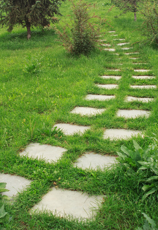 sidewalks: stone walkway on the grass in the park