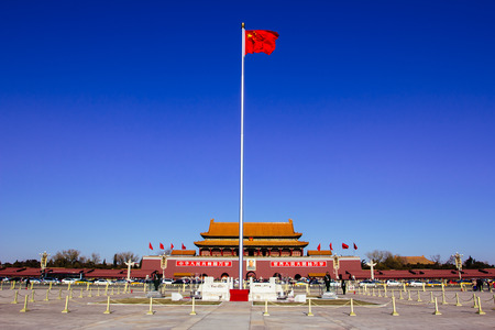 天安門広場、北京、中国 写真素材