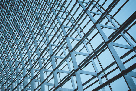 steel structure: The steel structure of the glass wall in Beijing