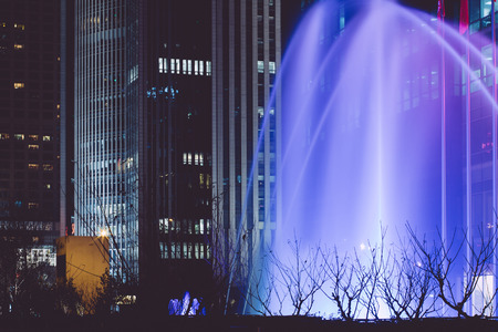 artificial lights: Musical fountain in the night,Beijing Editorial