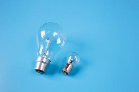 incandescent: Incandescent light bulbs with blue background