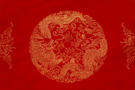 rice paper: red rice paper with golden pattern Stock Photo