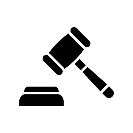 Veiling, hamer, hamer, wetspictogram voor elk gebruik zoals gedrukte media, web, stockfoto's, commercieel gebruik of elk soort ontwerpproject. Vector Illustratie