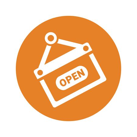Open sign icon, vector graphics. Use for commercial, print media, web or any type of design projects.