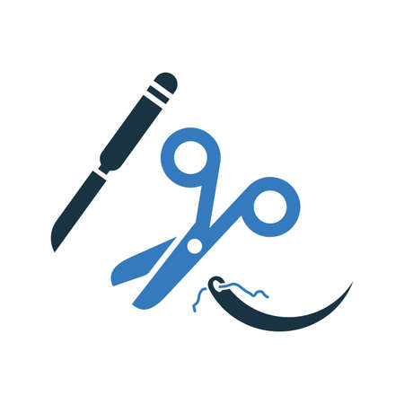 Surgery scissor icon, operation equipment , vector graphics for various use. Zdjęcie Seryjne - 150624758