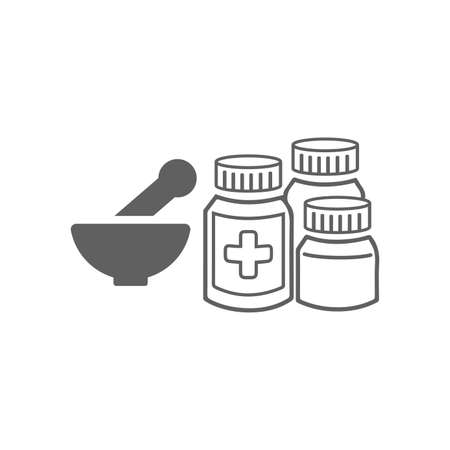 Mortar, pestle, pharmacy icon. Use for medical, commercial, print media, web or any type of design projects. 向量圖像
