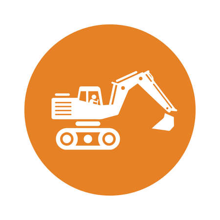 Bulldozer, excavator icon. Use for commercial, print media, web or any type of design projects.