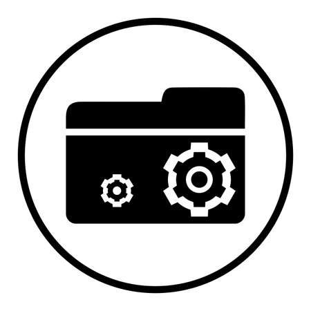 Folder settings icon. Perfect for use in designing and developing websites, printed files and presentations, stock images, Promotional Materials, Illustrations or Infographic or any type of design projects.