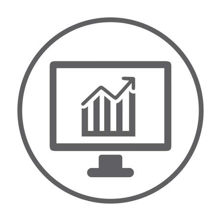 Analytics, growth graph icon isolated on white background. Simple vector illustration for graphic and web design. Ilustracja