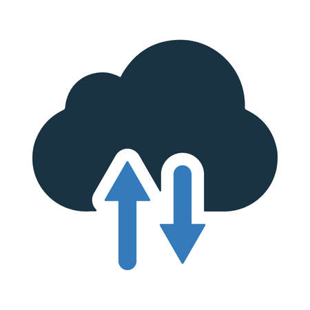 Cloud upload and download icon isolated on white background. Simple vector illustration for graphic and web design. Ilustracja