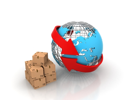 International shipping and global freight delivery services business concept with a streaming group of packages as cardboard boxes flowing into a blue sphere of the map of the earth isolated on a white background photo