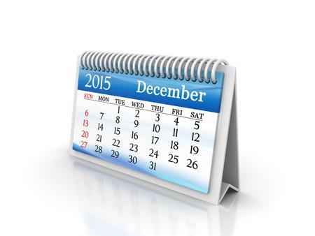 december calendar: 2015 Design calendario dicembre con display a colori a cristalli liquidi Archivio Fotografico