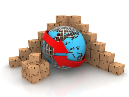 Concept of delivering packages worldwide Earth globe and arrows 3d render photo