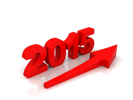 Red arrow going up showing growth in year 2015