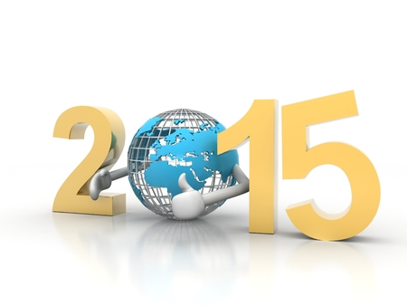 wordwide: Year 2015 with a blue earth as a zero