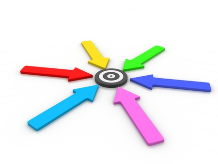converging: Six colour full opposing arrows approach a bullseye target from 4 different directions in competition to be first to be successful and reach the goal