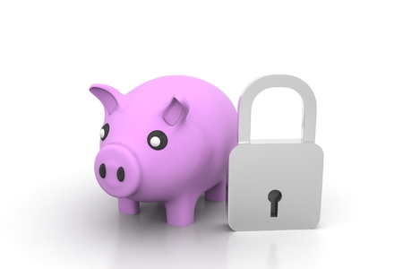Combination lock and pink piggy bank Render on a gray background photo