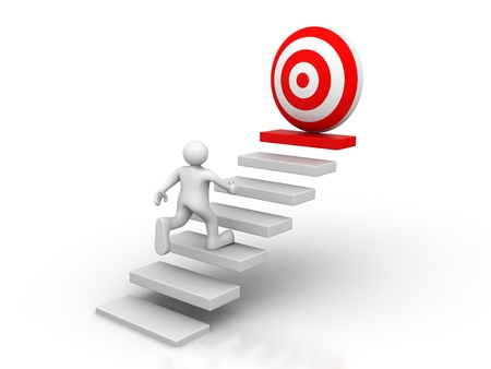 3d man running to the target on top of the stairs over white background