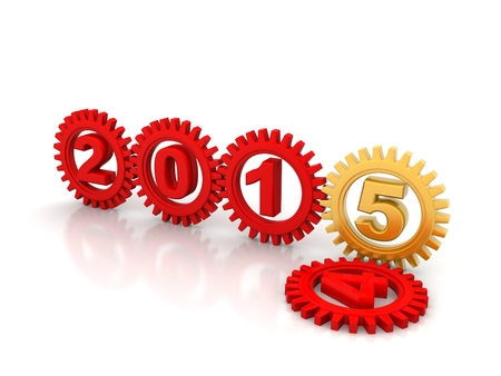 Red gears with blue numbers 2015. White background. photo