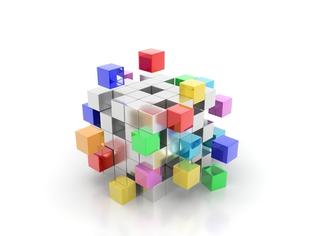 colorful cubes getting detached spectrum concept Stock Photo