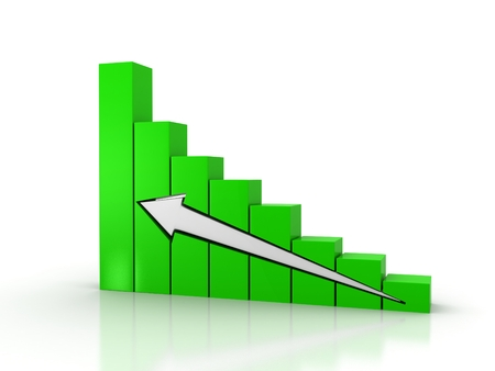 Business graph with going up white arrow