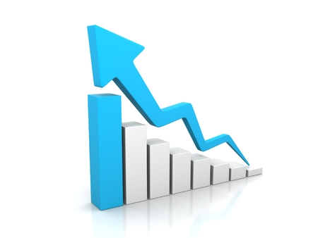 Business graph with going up blu arrow Stock Photo