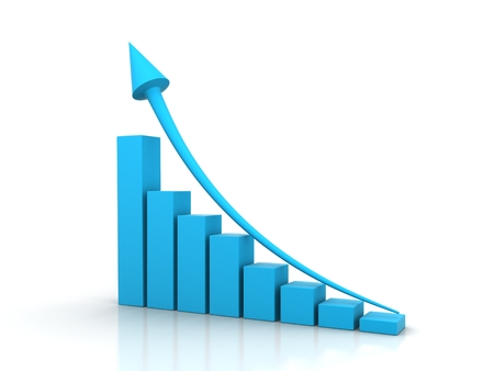 Growing red bar chart and blue rising arrow Stock Photo