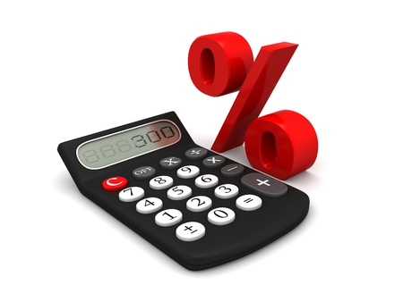 Black calculator with screen display and Red percentage sign isolated on white background, Calculating your discount